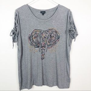 TORRID l Elephant Embroidered Braided Sleeve Top